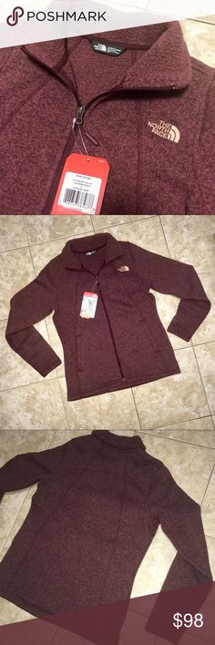 """North Face Relaxed Fit Full Zip Jacket Crescent Beautiful Deep Garnet Red Heather (Burgundy) Color — The North Face — Brand New with Tags — Soft & Fuzzy inside, very cozy! — Full Zip Up Jacket w/ Relaxed Fit — Size Women's Small. ~Warm sweater-knit fleece ~Center front zip ~Open hand pockets ~Sleeve Length: 24"""" ~Bust circumference: 36"""" ~Length (CENTER BACK): 26"""" ~FABRIC: 300 g/m² 100% polyester sweater knit with fleece backer North Face Jackets & Coats"""