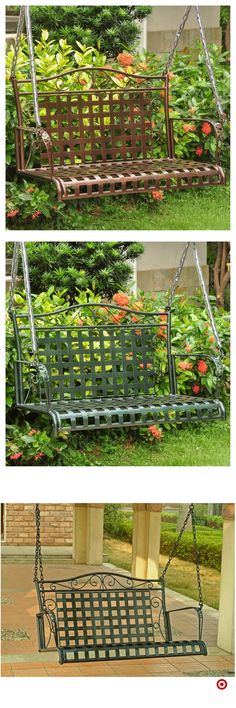 Shop Target for porch swing you will love at great low prices. Free shipping on orders of $35+ or free same-day pick-up in store. Backyard Patio Designs, Pergola Patio, Backyard Landscaping, Pergola Swing, Garden Steps, Outdoor Projects, Beautiful Gardens, Outdoor Gardens, Planting Flowers