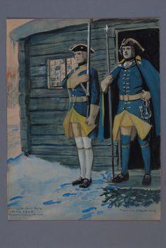 Musketeer and officer at Västgöta-Dals regiment of foot, about 1706 by Einar von Strokirch Military Tactics, Military Art, Military Uniforms, Swedish Army, Baroque Art, Dark Fantasy, 17th Century, Warfare, Empire