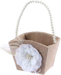 ULTNICE Wedding Flower Girl Basket with White Pearl Ribbon Flower