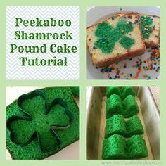 St. Patricks day Peekaboo Shamrock Pound Cake tutorial #diy #holidayfun #St.PatricksDay