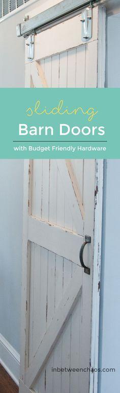 Make your own barn doors with authentic sliding barn door hardware!  | inbetweenchaos.com