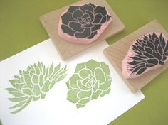 Succulent Rubber Stamps Hand Carved Succulent by DrumChickDesigns, $14.00