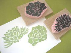 Suculenta sellos de caucho mano tallada por DrumChickDesigns