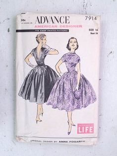 1950s Anne Fogarty Dress Pattern Evening Cocktail by redoredux2