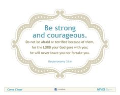 Deuteronomy 31:6 NIV Bible Verse About Courage