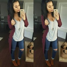 Awesome 48 Unique Cardigan Ideas To Wear This Fall Mode Outfits, Casual Outfits, Fashion Outfits, Fashion Trends, Casual Wear, Fashion Shoes, Fall Winter Outfits, Autumn Winter Fashion, Winter Clothes