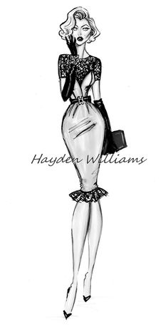 #Hayden Williams Fashion Illustrations.  #Iconic Women collection by Hayden Williams: Marilyn