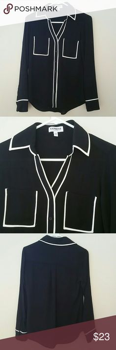 Express Portofino Shirt Black and white contrast dress shirt from Express in like new condition. Super versatile for work or going out.  Solid not sheer. Awesome quality I just rarely get fancy. Express Tops Blouses