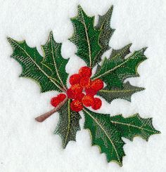 BURST OF CHRISTMAS HOLLY PLANT - 2 EMBROIDERED HAND TOWELS by Susan