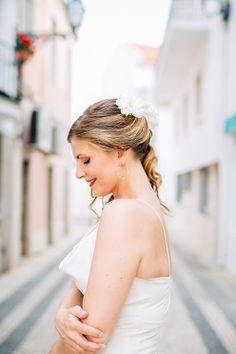 bridal updo with white flowers