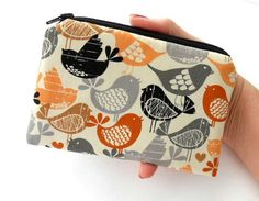 Mod Birds Coin Purse Little Padded ECO Friendly  Zipper Pouch by JPATPURSES, $8.00