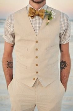 Hipster groom - I like the color/fabric of this vest and pant pair.  Checkered, cuffed short sleeve shirt is interesting too.