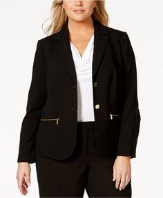 Calvin Klein Plus Size Button-Front Zip-Pocket Jacket - Jackets & Blazers - Plus Sizes - Macy's