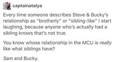 Steve and Bucky do act like siblings, when there's at least a decade between them. Sam and Bucky act like more contemporary siblings.