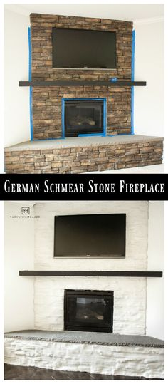 German Schmear Stone Fireplace tutorial! Brighten up your dark stone fireplace with a bright look for just $45