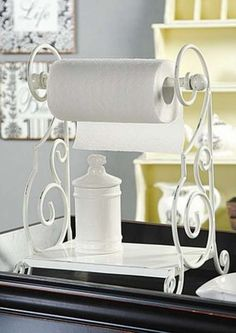 New Counter Top White Metal Paper Towel Holder With Shelf