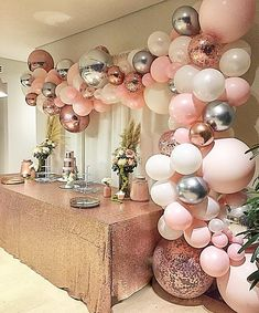 'Just something pretty and pink, with rose gold please.' A beautiful surprise for a lovely lady on her special day! 50th Birthday Party Decorations, Gold Party Decorations, Gold Birthday Party, 40th Birthday Parties, Pink Birthday, 30th Birthday Ideas For Women, Rose Gold Theme, Balloon Garland, Pretty