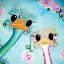 Ostrich painting with cute little faces and big eyes looking at you, Animal Paintings, Animal Drawings, Art Drawings, Bright Paintings, Arte Popular, Whimsical Art, Bird Art, Cute Art, Painting Inspiration