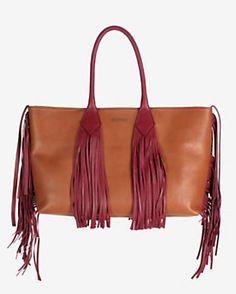 Sara Battaglia Fringe Shopper Tote: Red/Brown