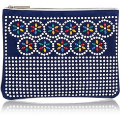Tabitha Simmons Embellished suede and leather pouch ($495) ❤ liked on Polyvore featuring bags, handbags, clutches, clutch bag, purses, navy, navy leather handbag, leather clutches, zipper pouch and blue handbags