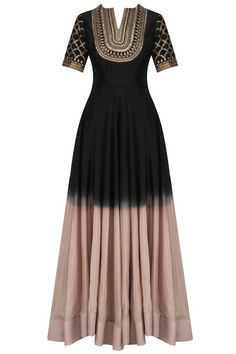 Black and ash pink anarkali set available only at Pernia's Pop Up Shop.