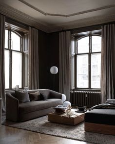 I'm dividing my 3 Days of Design highlights into two posts grouped around themes. First, spaces showcasing contemporary furniture in historic settings. Contemporary Furniture, Cool Furniture, Danish Sofa, Shades Of Burgundy, Neutral Walls, Paint Brands, Room Set, Decoration, Scandinavian Design