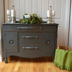 SouthernAbbey.com refinished buffet in grey
