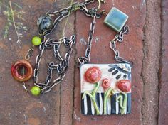 Handmade Ceramic Pendant with Hand-Pieced Chain by the amazing Sunny Carvalho