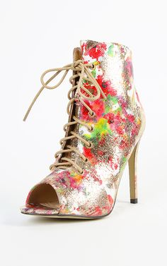 Lace up metallic foil floral booties. Just beautiful. | MakeMeChic.com