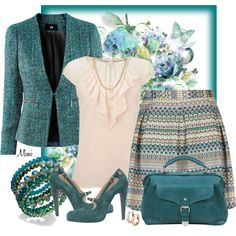 """Jaded Aztec"" by myfavoritethings-mimi on Polyvore Not quite-so-formal office outfit!"