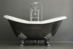 The Stratford 61' Vintage Designer Burnished Clawfoot Cast Iron Double Slipper Tub Package from Penhaglion