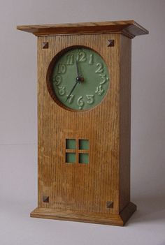 Mackintosh style mantel clock.  Carreaux Du Nord - Specializing in Arts & Crafts Tile