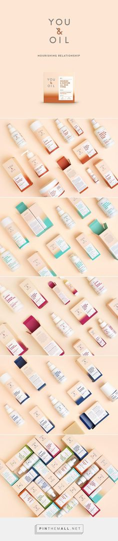 "Branding, graphic design and packaging for YOU & OIL natural cosmetics targeting Millennials on Behance curated by Packaging Diva PD. New design and logo for natural cosmetics ""You & Oil"", created after brand strategy proposed by ""Black Swan Brands""."