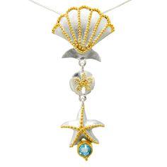 Michou Jewelry Topaz Starfish and Seashell Pendant