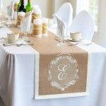 "We could stencil a large ""K"" on each end of the burlap table runner? If we do a runner....lol...."