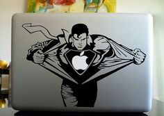 Individually hand-crafted vinyl decal sticker for your MacBook with Superman (or should I say Superapple