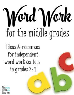 A great collection of resources for word work centers in second and third grades.