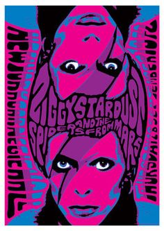 DAVID BOWIE   - 28 september 1972  New York  - concert live show retro artistic poster