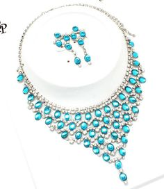NEW teal rhinestone FESTOON BIB necklace pierced earring set prom jewelry big $29.99