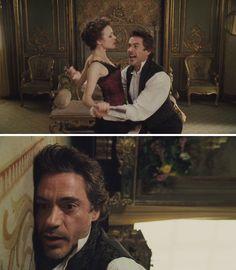 Sherlock Holmes (2009) Starring: Robert Downey, Jr. as Sherlock Holmes and Rachel McAdams as Irene Adler.