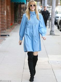 Gleeful glow: Pregnant Jaime King was seen heading to a nail salon in Los Angeles on Satur...