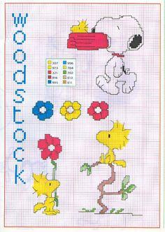 woodstock punto croce snoopy fiori ciotola