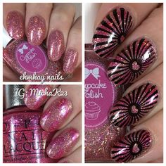 ehmkay nails: Valentine's Day Nail Art: Cupcake Polish As Good as Rose Gold and Stamping with UberChic Beauty