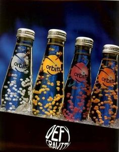 Orbitz... I still have one in my room from 15 years ago and the little pellets are still floating!