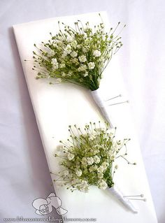 babys-breath-buttonholes by Blossom Wedding Flowers, via Flickr