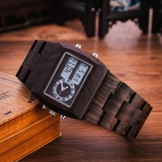 Man Wooden Watch New Year Gift Bangle Quartz Watch With electronic Display Role Men Relogio Masculino Watches Like and Share if you want this  #shop #beauty #Woman's fashion #Products #Watch