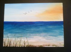BEACH PAINTING Original Art Acrylic Canvas Panel 6 by santashells, $12.00