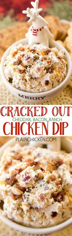 Cracked Out Chicken Dip - this stuff is SO addicting! CRAZY good!! Chicken, cream cheese, ranch mix, bacon, cheddar cheese and milk. This makes a ton! Great for parties! Can make ahead and refrigerate until ready to serve. Everyone LOVES this dip!