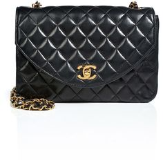 CHANEL VINTAGE JEWELRY Quilted Leather Round Flap Bag in Black ($3,755) ❤ liked on Polyvore featuring bags, handbags, shoulder bags, bolsas, chanel, accessories, purses, vintage handbags purses, vintage handbags and chanel handbags